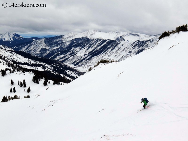 Alex Riedman backcountry skiing in Crested Butte