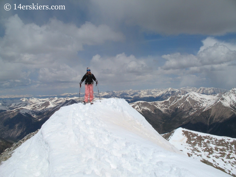 Brittany Konsella skiing from the summit of Mount Antero.