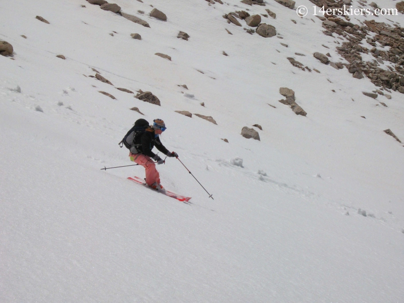 Brittany Walker Konsella backcountry skiing on Mt Antero.