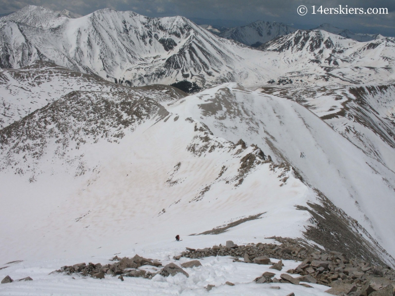 Frank Konsella backcountry skiing on Mount Antero.