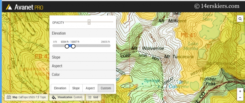 Elevation filter on Avanet.