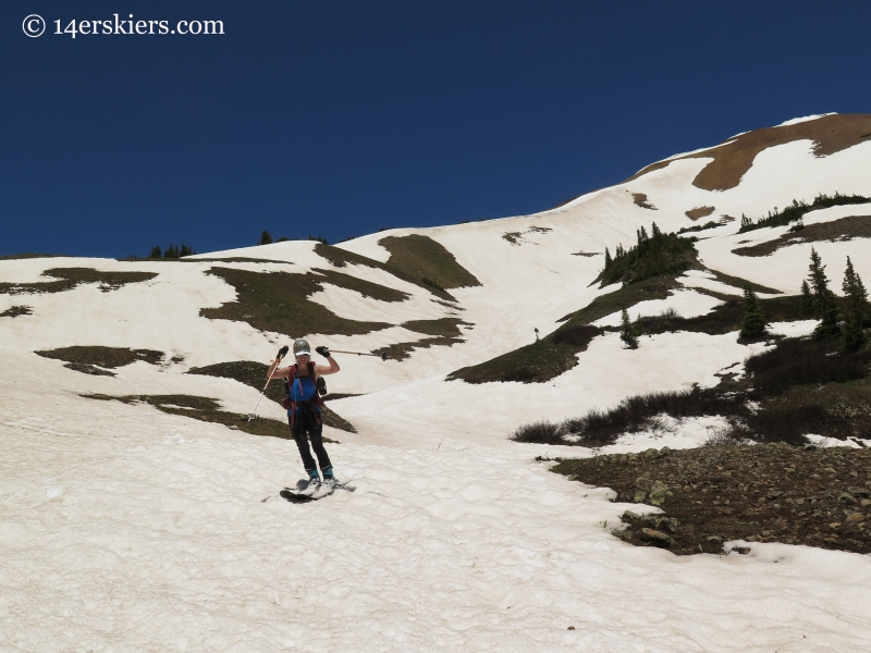 Jenny Veilleux skiing the south side of Baldy