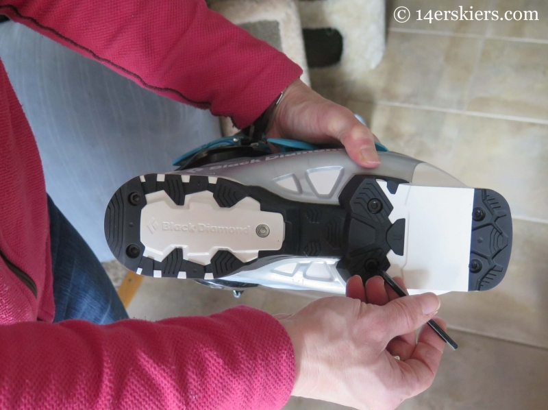 Changing the sole blocks on the Shiva MX from alpine to touring.