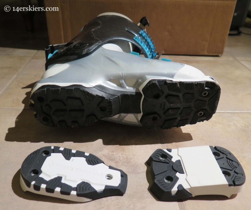 Black Diamond Shiva MX with both sole block types shown.