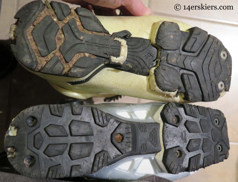 Comparing the attachment points of the sole blocks on the older Shiva with the Black Diamond Shiva MX.