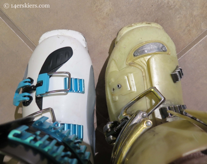 Comparing the toe sole blocks on the older Black Diamond Shiva and the Shiva MX.