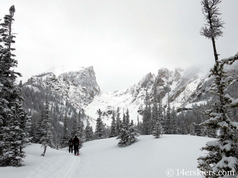 Backcountry skiing Bear Lake zone in Rocky Mountain National Park.