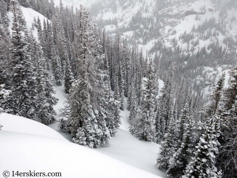 Backcountry skiing the Bear Lake Zone Dream Shots in Rocky Mountain National Park.