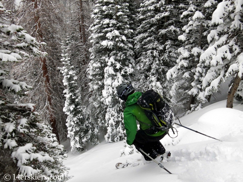 Scott Edlin backcountry skiing the Dream Shots of the Bear Lake zone in Rocky Mountain National Park.