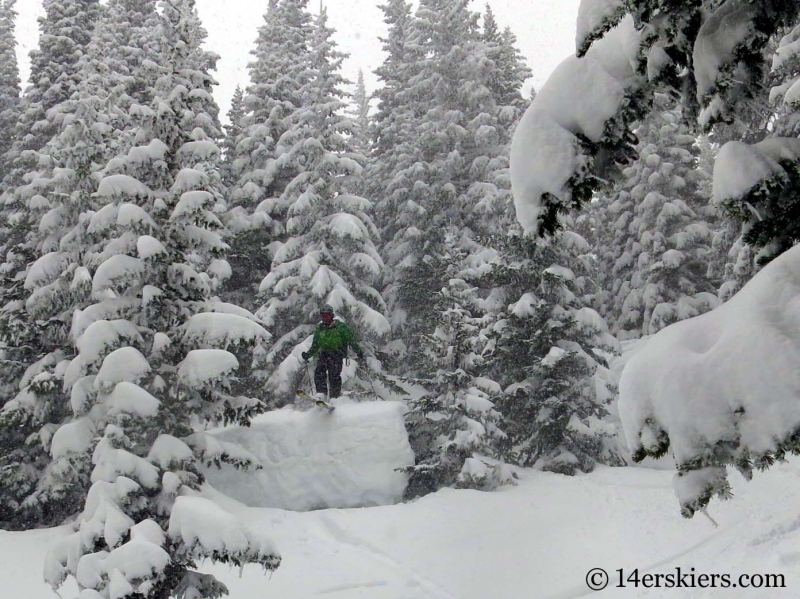 Scott Edlin backcountry skiing down Marios in the Bear Lake zone of Rocky Mountain National Park.