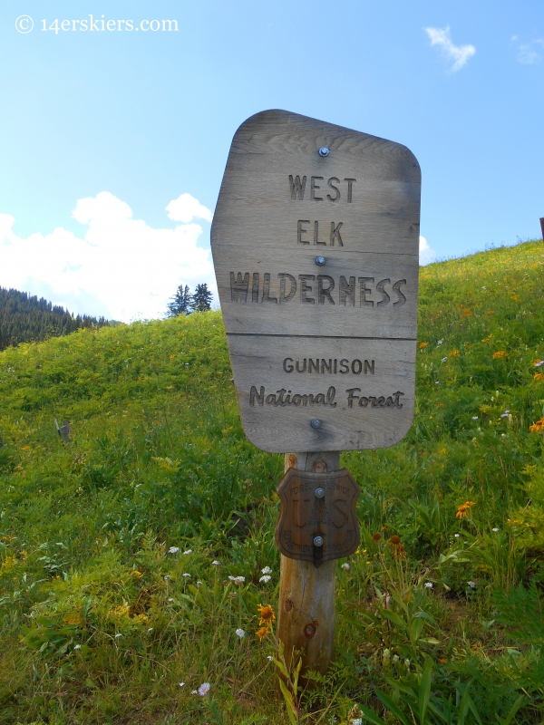 West Elk Wilderness sign near Crested Butte