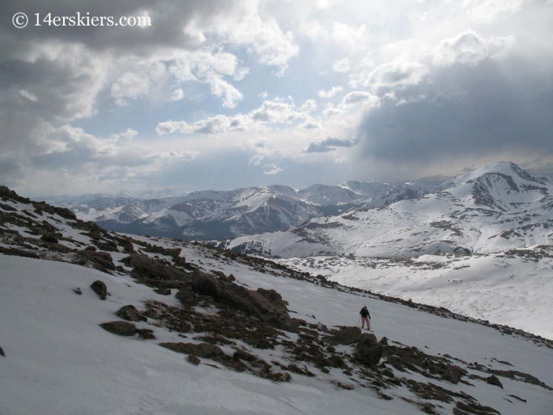 Brittany Walker Konsella skinning to go backcountry skiing on Mt. Evans
