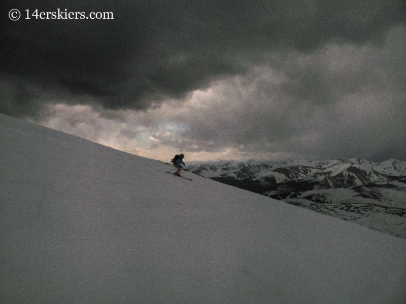 Brittany Walker Konsella backcountry skiing on Mt. Bierstadt.