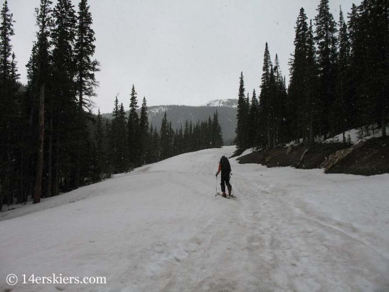 Skinning to go backcountry skiing on Mount Bierstadt.