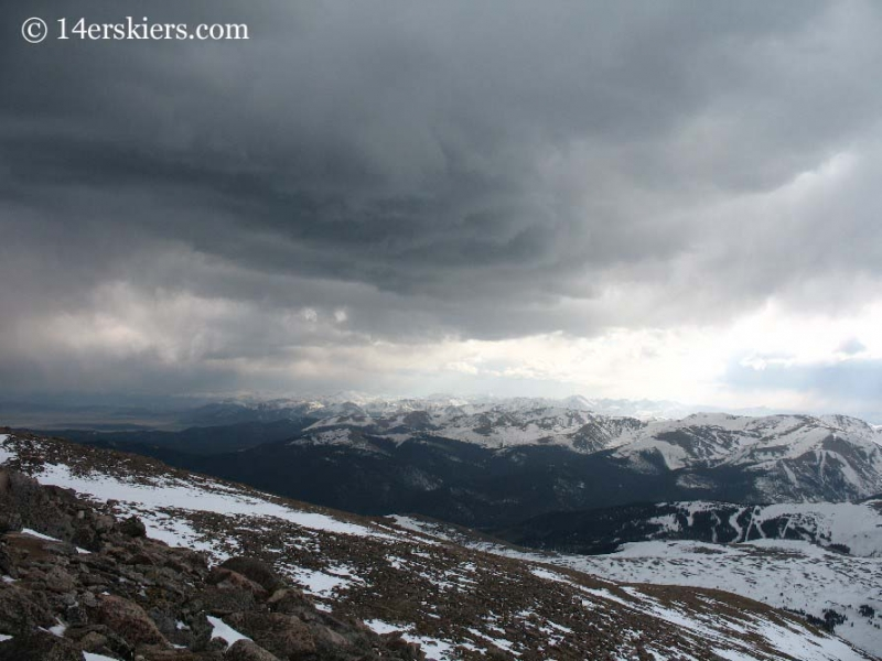 Storm clouds approaching on Mt. Bierstadt.