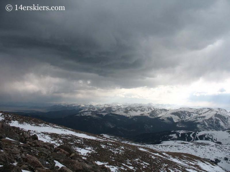 Storm clouds approaching on Mt. Bierstadt.