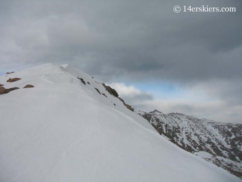 Summit of Mt. Bierstadt with snow.