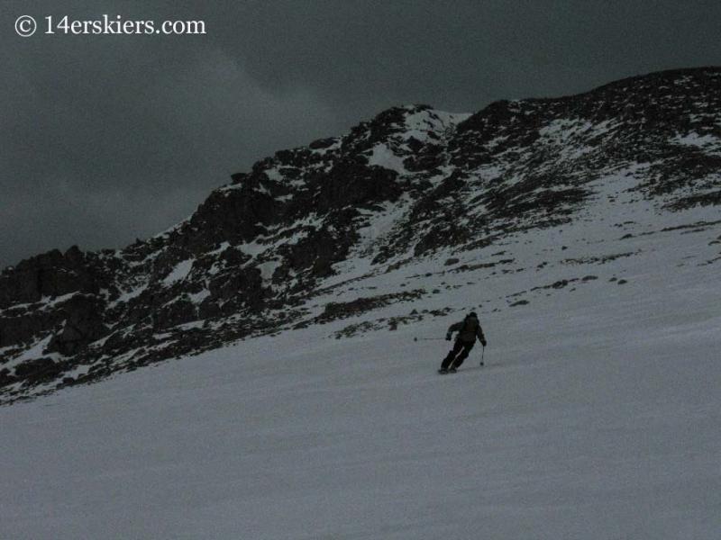 Frank Konsella backcountry skiing on Mt. Bierstadt.