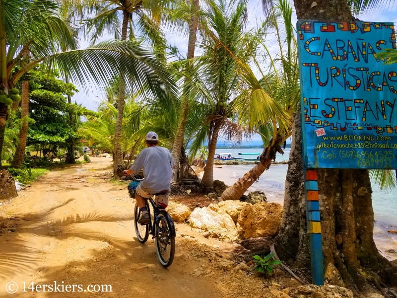 Biking through Boca del Drago in Panama.