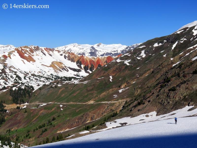 Josh Macak backcountry skiing near Bonita Peak in the San Juans.