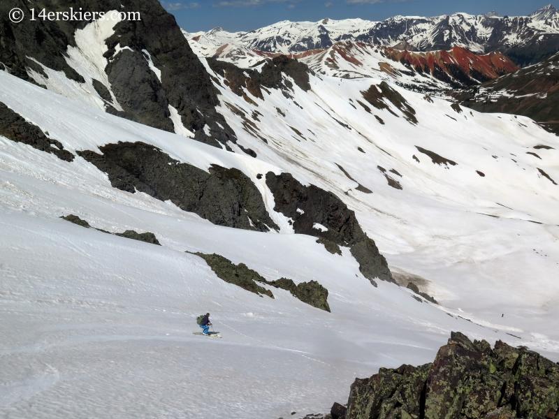 Natalia Moran backcountry skiing on Bonita Peak.