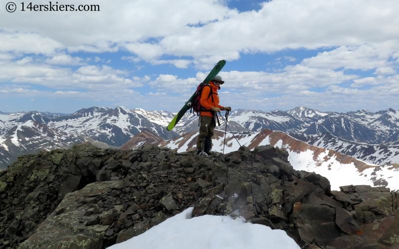 Frank Konsella ready for backcountry skiing on Hurricane Peak.