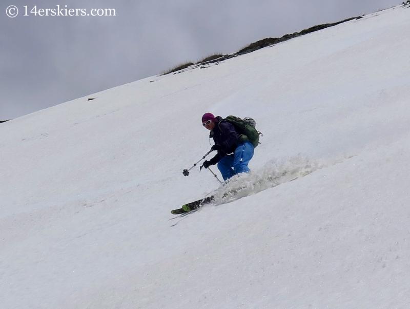 Natalie Moran backcountry skiing on Hurricane Peak.