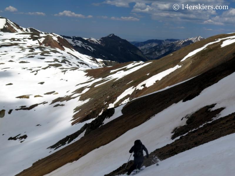 Josh Macak backcountry skiing on Hurricane Peak.