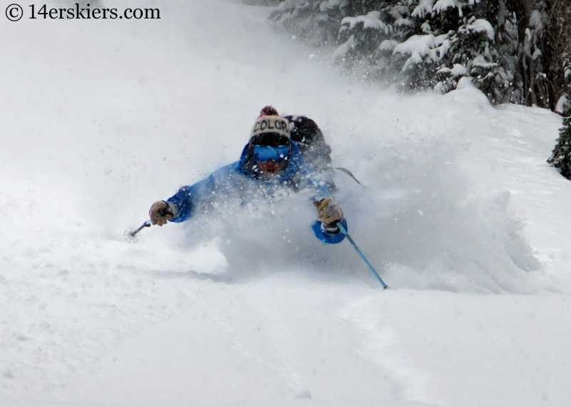 Dave Bourassa getting pow in the Crested Butte backcountry.
