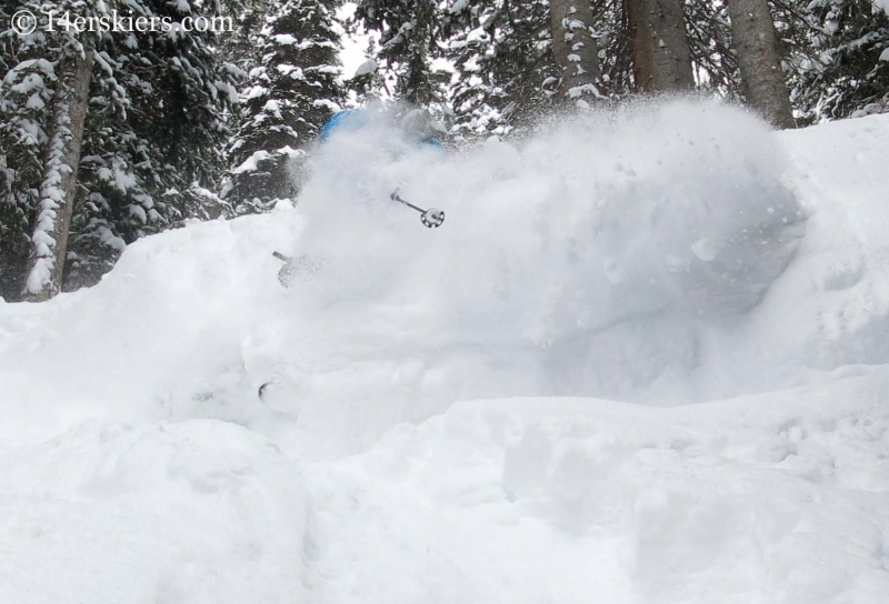 Brittany Konsella getting powder while backcountry skiing in Crested Butte.