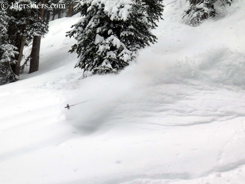 Frank Konsella getting powder while backcountry skiing in Crested Butte.