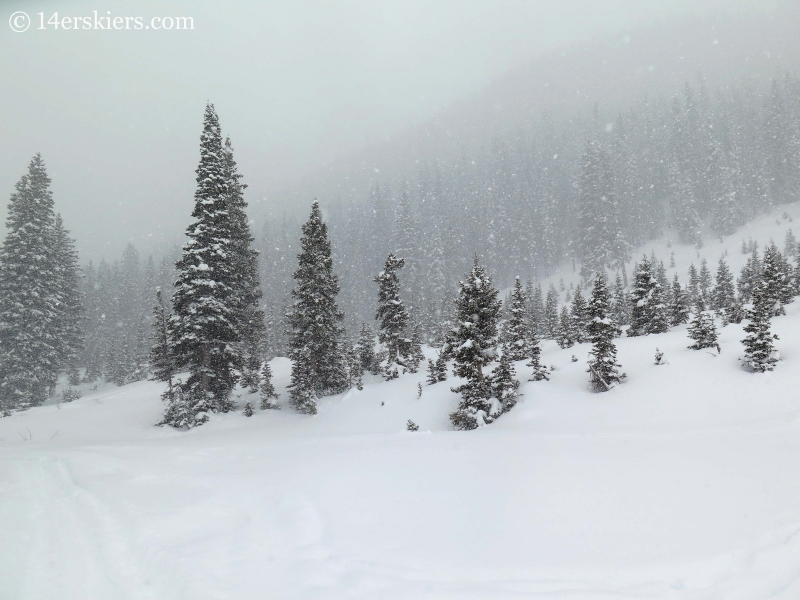 Blizzard while backcountry skiing in Crested Butte.