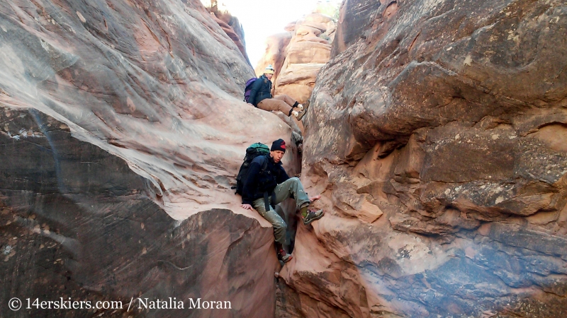 canyoneering moves, Lost and Found, Arches National Park.