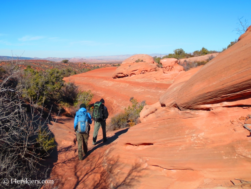 Walking to Lost and Found, canyoneering in Arches National Park.