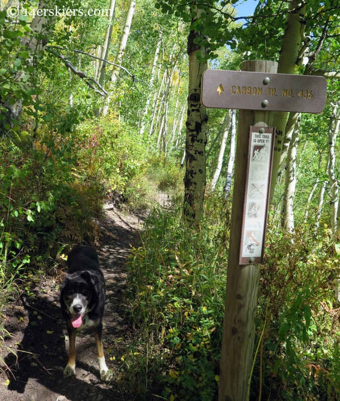 Carbon Creek trail sign near Crested Butte