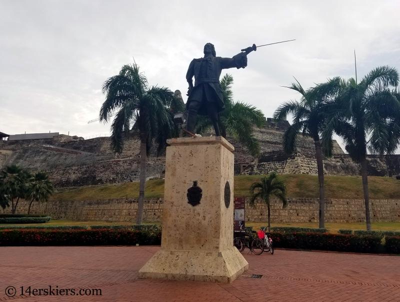 De Blos Statue near Castillo San Felipe in Cartagena.