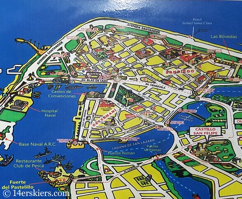 Colorful Cartagena - Old Town map