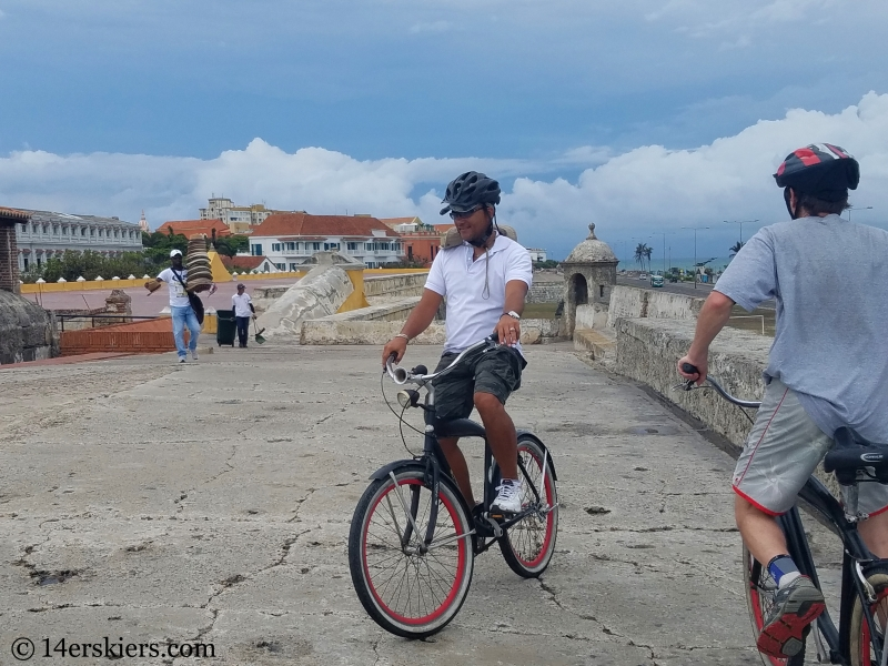 Colorful Cartagena city walls bike tour