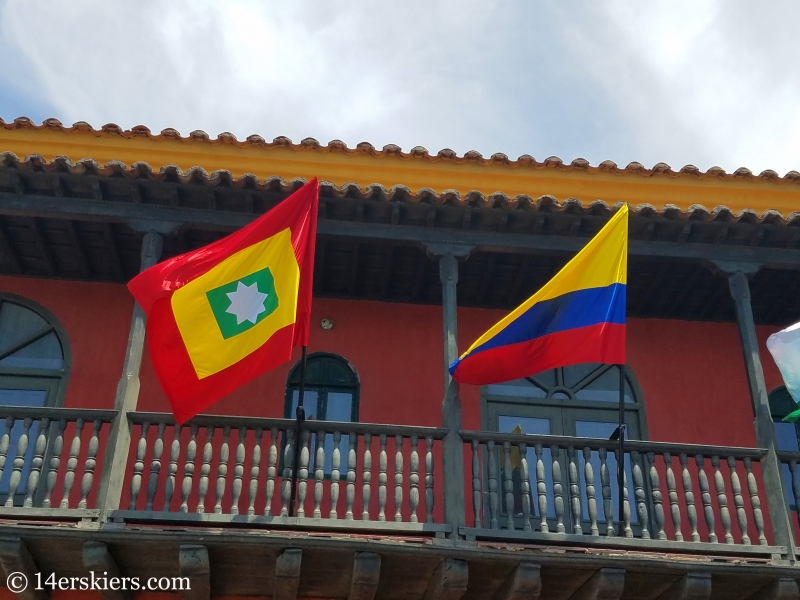 Flags of Cartagena and Colombia