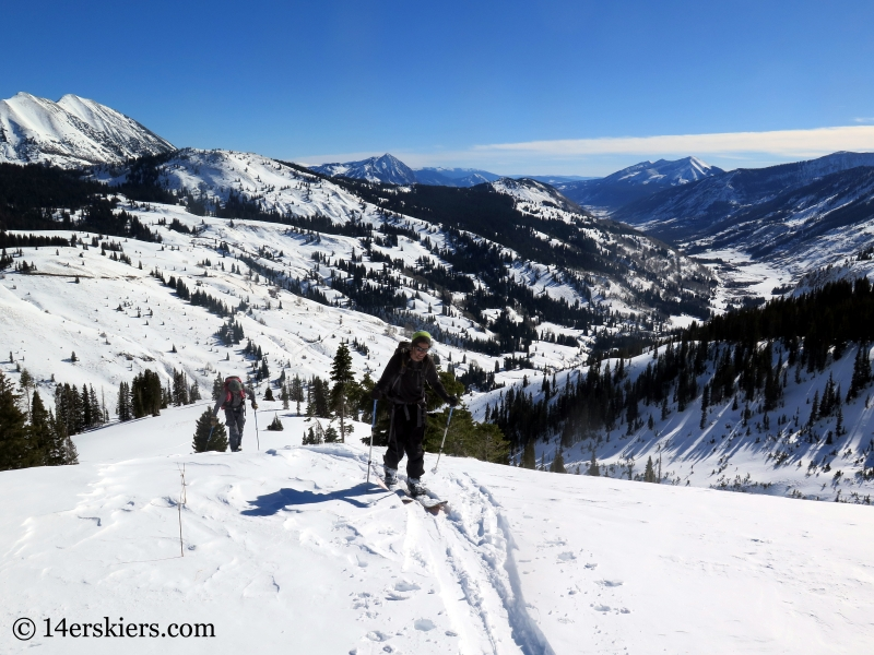 Skin track, backcountry skiing in Crested Butte