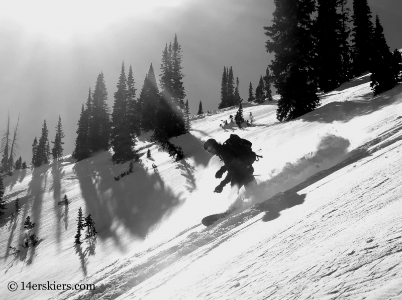 Scott Yost backcountry snowboarding in Crested Butte.