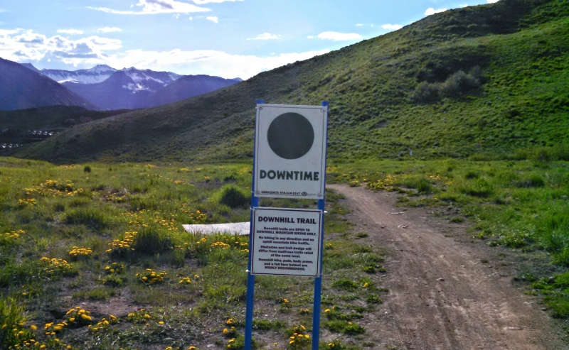 Downtime trail sign at Crested Butte Mountain Resort