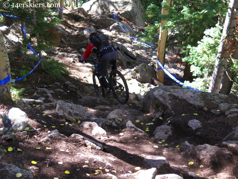 Mountain biking Captain Jack's trail at Crested Butte Mountain Resort