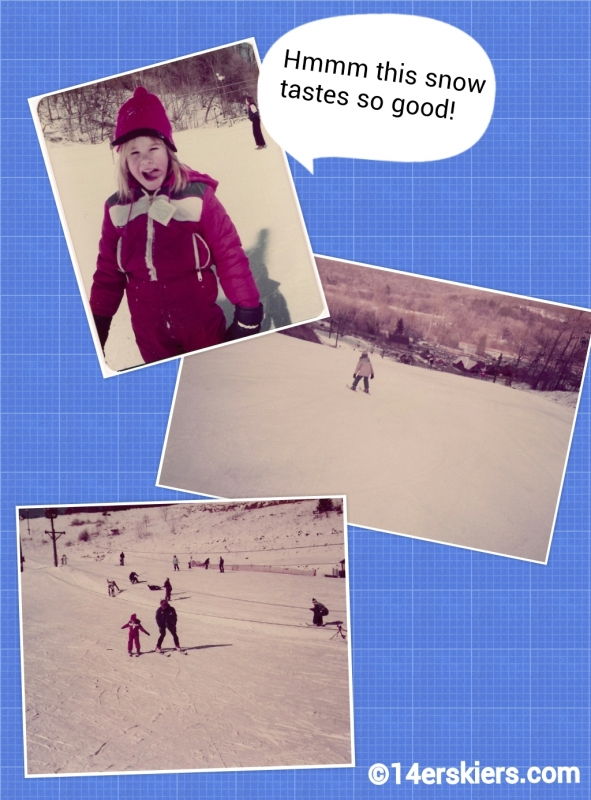 Brittany Walker Konsella skiing at age 6 in Ohio.