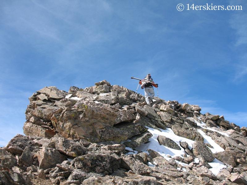 Fritz Sperry climbing ridge on Mount Columbia.