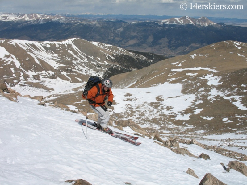 Fritz Sperry skiing from the summit of Mount Columbia.