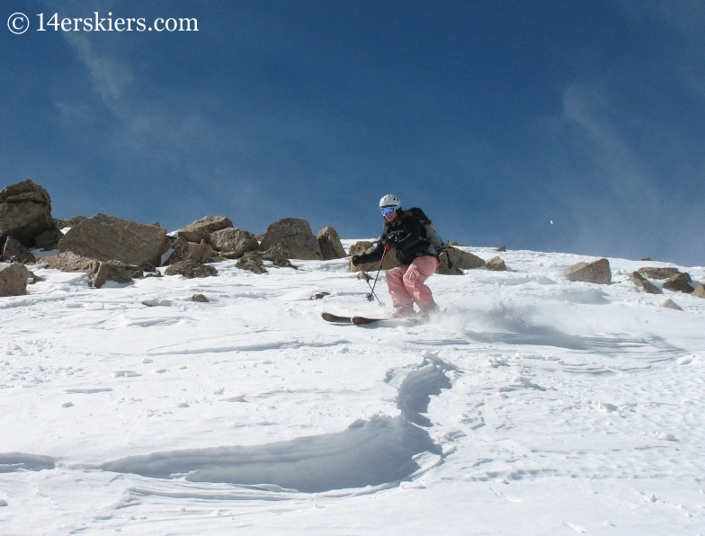 Brittany Walker Konsella skiing from the summit of Mount Columbia.