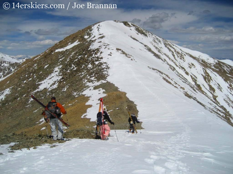 The summit of Mount Columbia - getting ready to ski it!