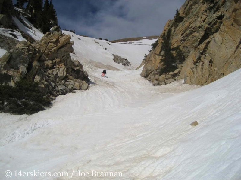 Brittany Walker Konsella backcountry skiing on Mount Columbia.