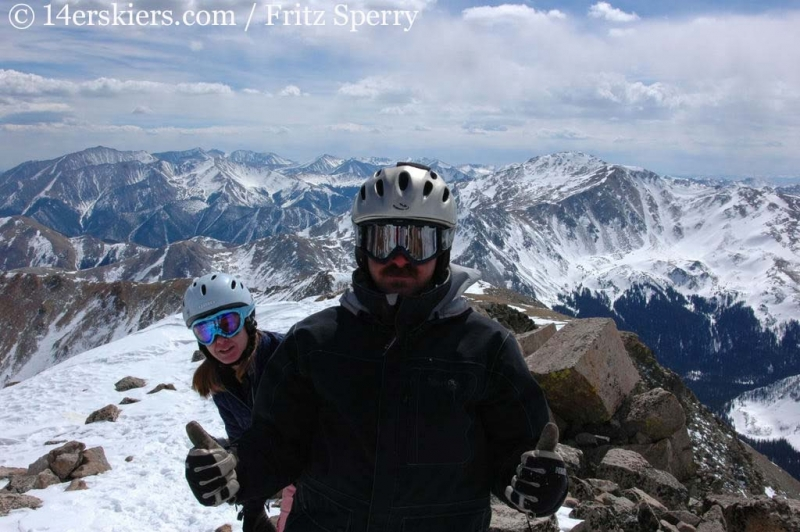 Getting ready to ski on the summit of Mount Columbia.